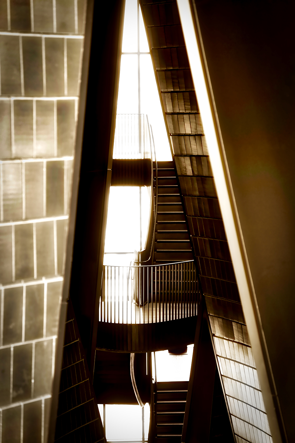 National Music Centre Staircase photographed using the natural light entering the building from all angles