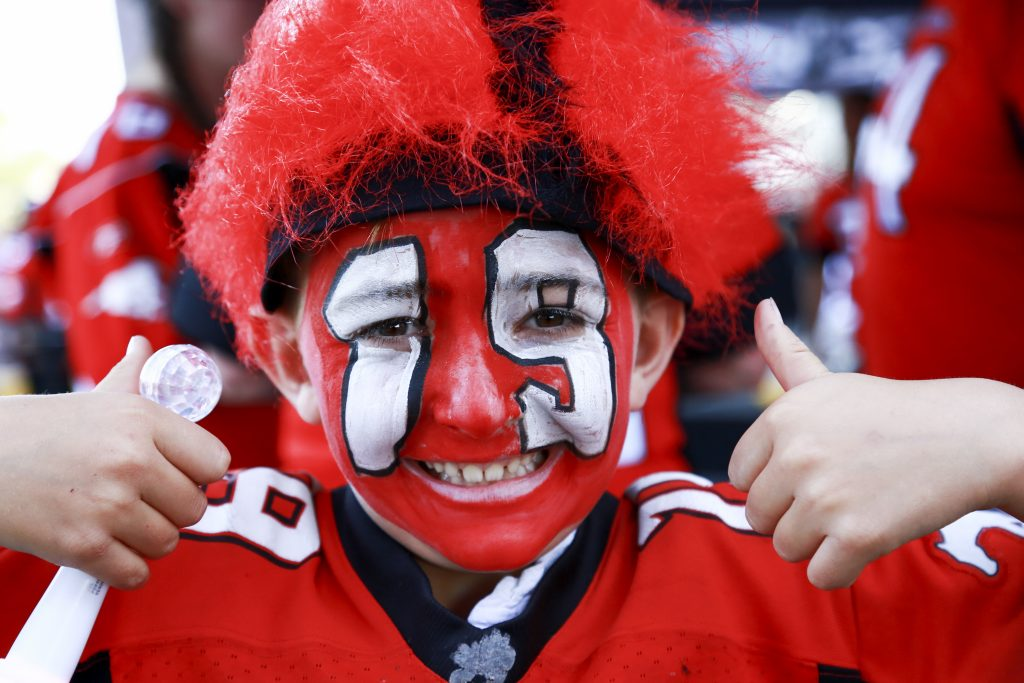A young Bo Levi Mitchell showed his support during the pregame Fan Appreciation event at McMahon Stadium, prior to the Calgary Stampeders and Toronto Argonauts game on August 26, 2017.