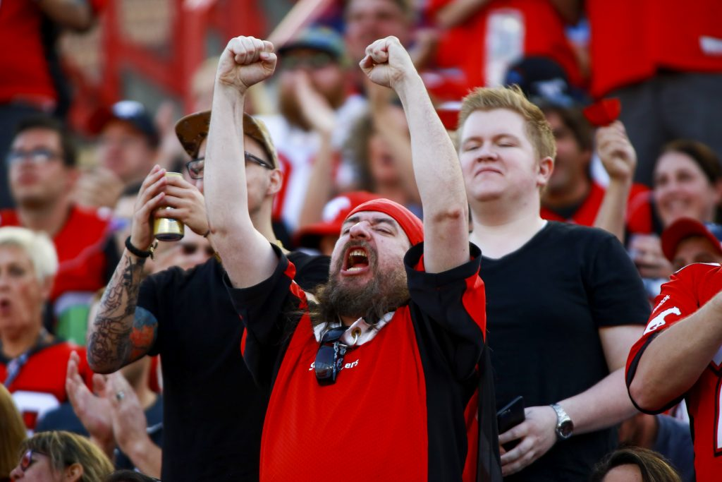 Fans enjoyed the game action as the Calgary Stampeders and Toronto Argonauts squared off game at McMahon Stadium on August 26, 2017.
