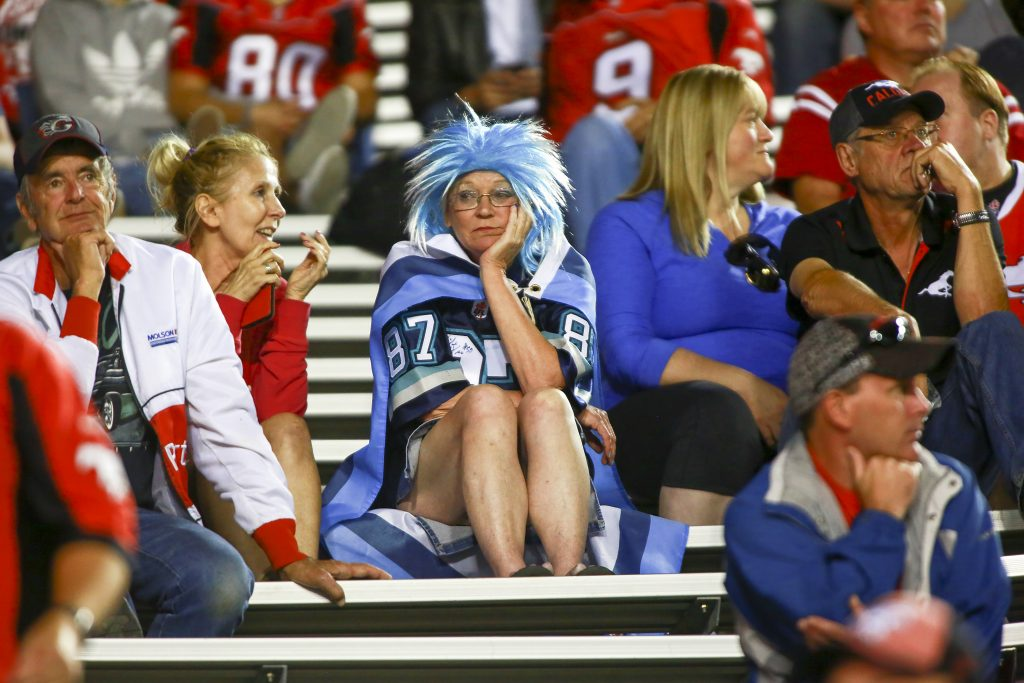 A Toronto fans showed her emotions in the dying minutes of the game action as the Calgary Stampeders and Toronto Argonauts squared off game at McMahon Stadium on August 26, 2017.