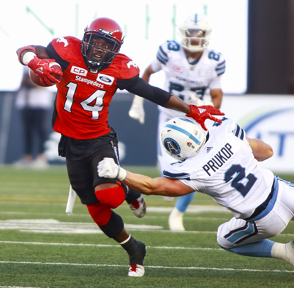 Game action as the Stampeders battled on the Argos in CFL action.
