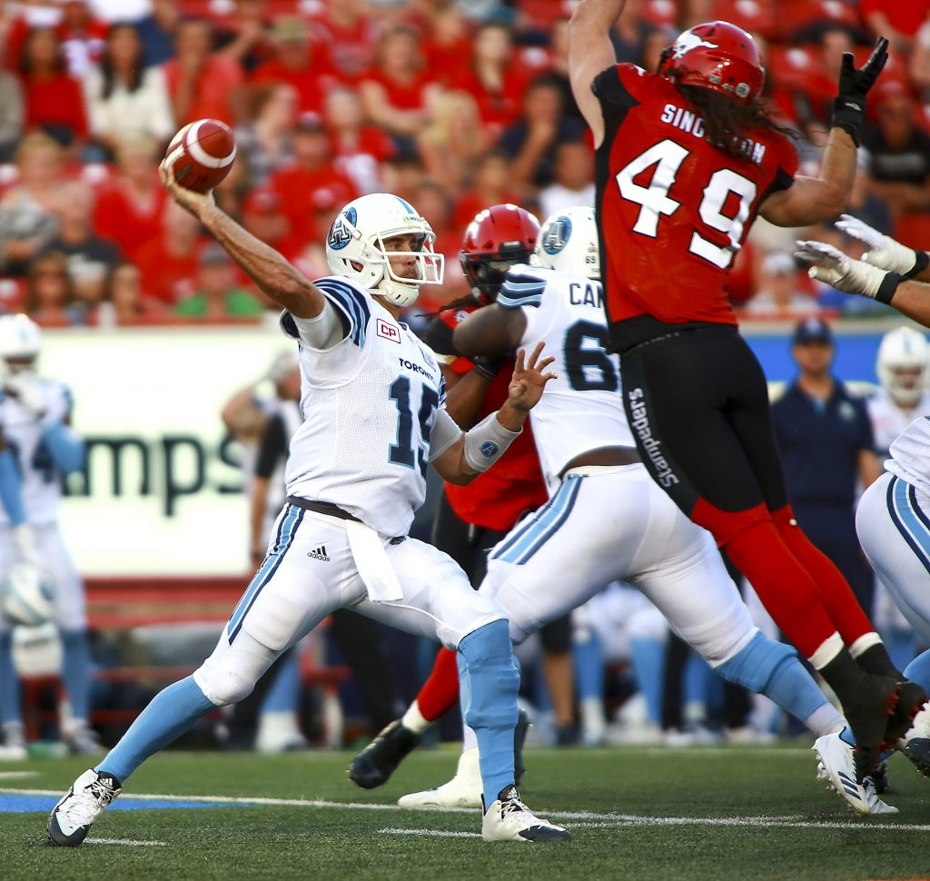 Game action as the Calgary Stampeders and Toronto Argonauts squared off game at McMahon Stadium on August 26, 2017.
